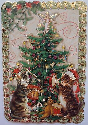 One (1) Single Punch Studio Dimensional Card Kitty Party Tree Cats Kittens Music
