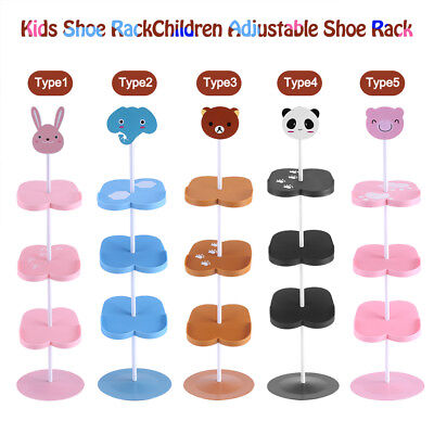 4 Tiers Cartoon Animal Kid's Shoe Rack Holder Portable Stand Shoes Storage Pink