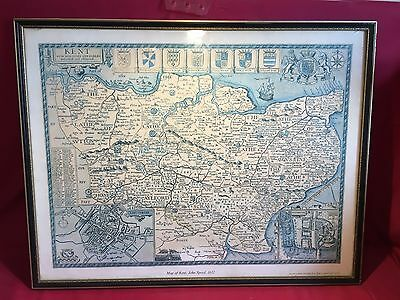 Vintage map of Kent John Speed 1612 in Black and Gold Frame reproduction by Peri