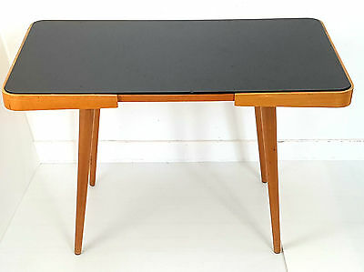 Jiri Jiroutek, Interier Praha : Coffee Table Beech & Black Glass 1950 Vintage