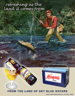 Vintage HAMMS beer Art Print Sign Trout Fishing St Paul Minnesota New