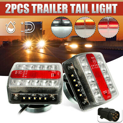 2x Magnetic LED Trailer Towing Lightboard Light Rear Tail Board Lamp + 10m Cable