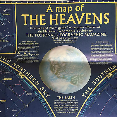 Vintage 1957 NATIONAL GEOGRAPHIC Map Of The Heavens Constellations 50s Beautiful