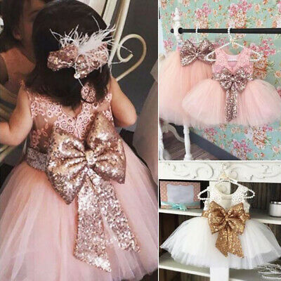 Baby Girl Sequin Bow Flower Tutu Dress Toddler Princess Party Wedding Tulle Gown