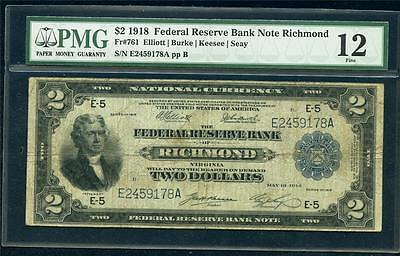 *1918 Frbn Richmond $2.00 Fr# 761  Pmg 12 Cool Battleship Note Please Lqqk!!