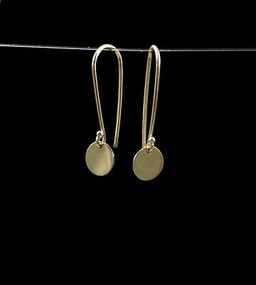 Solid 9ct (375) Yellow Gold  6.5mm Long-Drop Disc Earrings Polished Finish