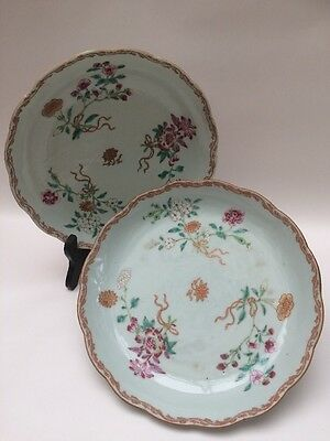 Antique Chinese Famille Rose Dishes Pair Dishes C19th