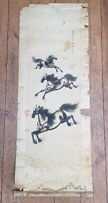 Chinese Scroll Antique Chinese Painting on Silk Horse Painting