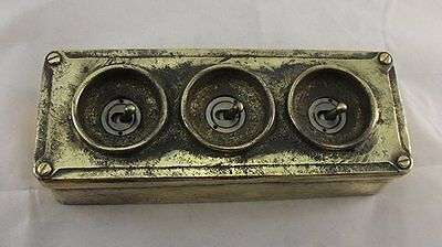 NEW Brass 3 Gang Vintage Industrial Light Switch - BS EN Approved