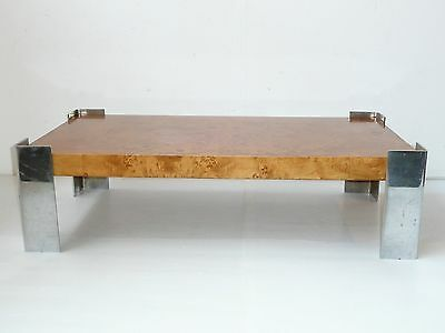 Beautiful Coffee Table Magnifier Elm & Chrome 1960/1970 Vintage to Be Restored