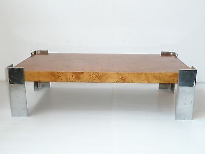 Beautiful Coffee Table Magnifier Elm & Chrome 1960/ 1970 Vintage To Be Restored