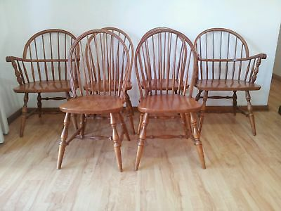 Set of 6 vintage timber spindleback kitchen dining chairs retro quaker style