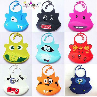 Kid Infant Bibs Baby Soft Silicone Bib Cartoon Waterproof Saliva Dripping Bibs