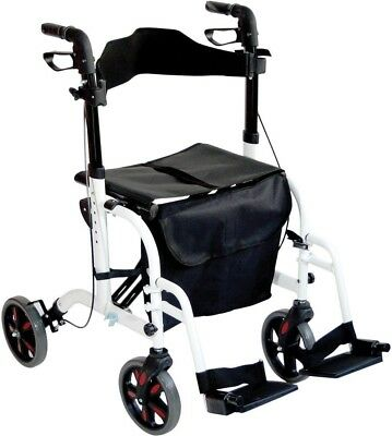 Aidapt Duo Deluxe Wheeled Walking Frame Rollator & Transit Chair Aid | White