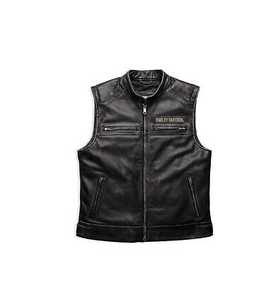 harley davidson men 39 s swat ii leather vest gr l herren. Black Bedroom Furniture Sets. Home Design Ideas
