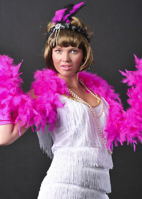 1920s Flapper Girl Bright Pink Feather Boa