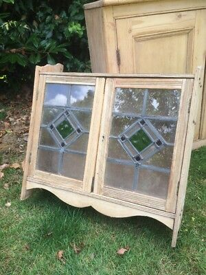 Antique Cupboard Stained Glass Wall Cupboard C1890