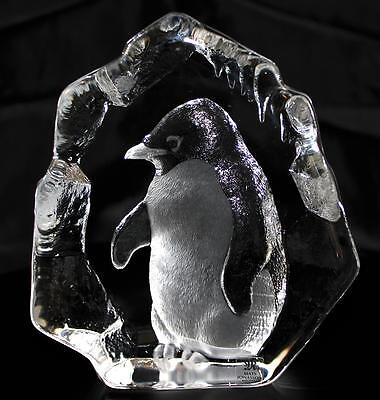Hand Etched Crystal Baby Penguin - Mats Jonasson - New From Gallery - (18454)