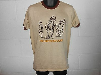 Vintage 80s The Meadowlands NJ Horse Racing Brown Tan 2 Sided Ringer T Shirt