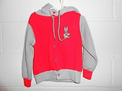 Vintage 80s Looney Tunes Bugs Bunny Zip Up Hooded Youth Sweatshirt