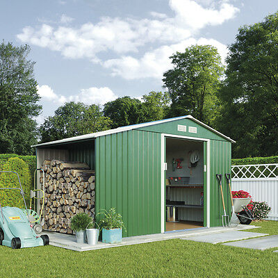 Waltons 11 x 6ft Apex Roof Green Outdoor Metal Garden Shed with Log Store
