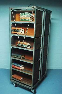 Antique Vtg Industrial Rare Two-Sided Iron Wood Library Cart Book Case