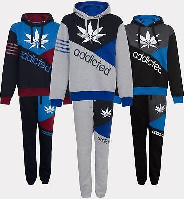 New Mens Contrast Addicted Print Hooded Fleece Hoodie Joggers Bottoms Tracksuit