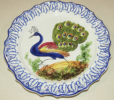 Bassano Decorative Plate Wall Hanging hanger Peacock, Hand Painted, SIGNED Italy