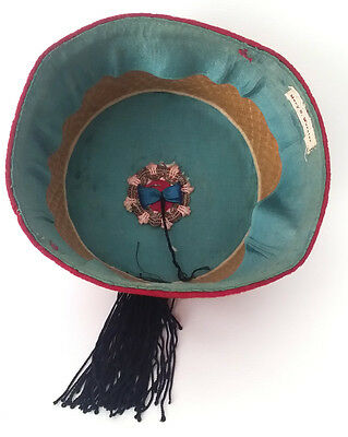 Authentic Vintage FEZ Hat RED with Black Silk TASSEL Woven Name Band on Interior