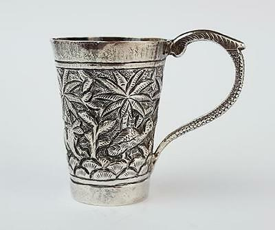 Antique INDIAN SILVER Relief Decorated TOT CUP c1900