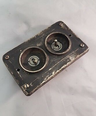 Patinated Bronze Vintage Industrial Faceplate (for Wall Boxes) - BS EN Approved