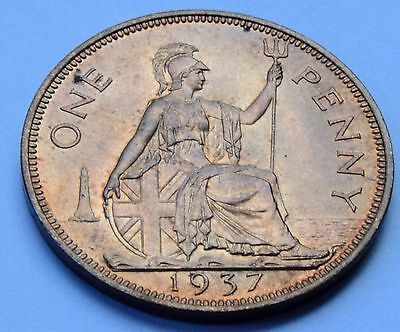 1937 King George VI Penny UNCIRCULATED with Lustre Coin