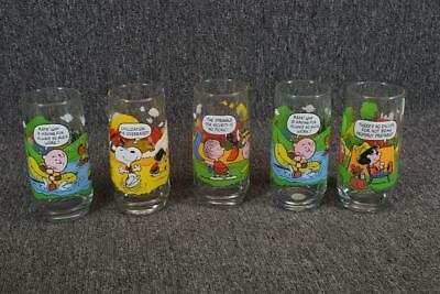 "Set Of 5 Peanuts Vintage Glasses From Mcdonalds 6"" Tall Camp Snoopy Collection"