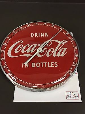 "Vintage 1950s COCA-COLA THERMOMETER- ""Drink Coca Cola In Bottles"" great shape!"