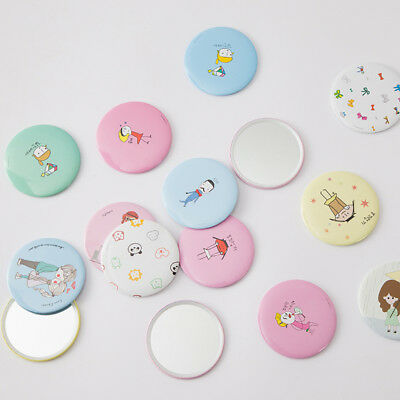 2Pcs Fashion Mini Cartoon Makeup Mirror Travel Compact Mirrors