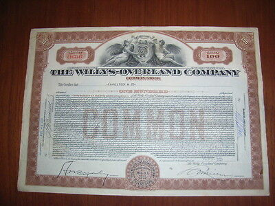 The Willys-Overland Company, 100sh common, 1933, oversized, uncancelled
