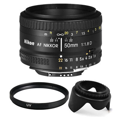Nikon AF FX NIKKOR 50mm f/1.8D Prime Lens + 52mm Accessory Kit for Nikon DSLR