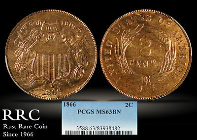 1866 Two Cent PCGS MS63 BN