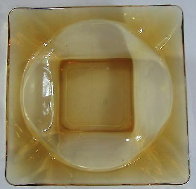 "Vintage Amber Brown Glass Square Ashtray 4 5/8"" x 4 5/8"" - VERY NICE!"