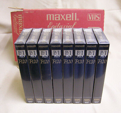LOT of 8 Maxell Epitaxial Pro Industrial P/I Plus T-120 BLANK VHS Tapes