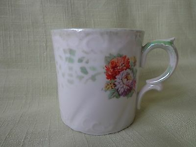 Children's Mug  with flowers and green luster