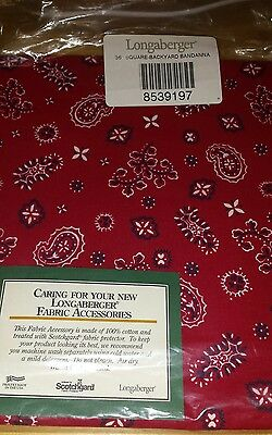 "Longaberger 36"" Backyard Bandana Fabric Square Table Cloth Overlay - New"