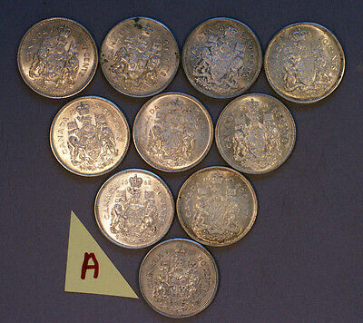 Lot of 10 Silver Half Dollar Canadian about 3 ounces of silver
