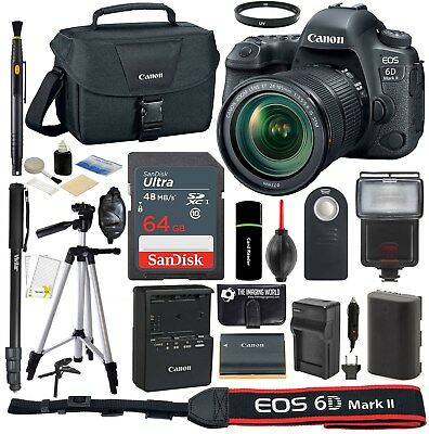 Canon EOS 6D Mark II DSLR 26.2MP Camera with 24-105mm IS STM Lens + 64GB Bundle