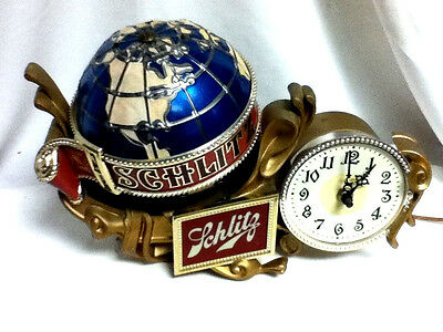 Schlitz beer sign lighted motion spinning water globe clock bar light baroque A+