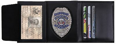 Men's Black Leather ID & Badge Holder Wallet - Law Enforcement Security Wallet