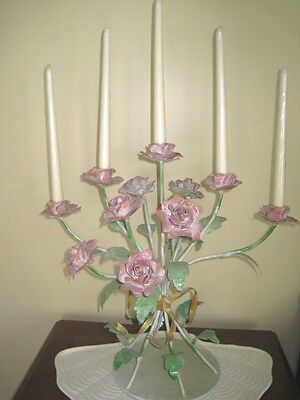 Lrg Chandelier Candle Holder Iron Metal Tole Cut Shabby Painted Pink Roses & Bow