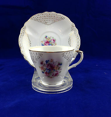 demitasse cup and saucer made in japan white gold lattice pink floral bouquet