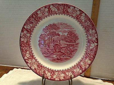 "Vintage Woods Burslem England Colonial Red Transferware 10"" Plate"