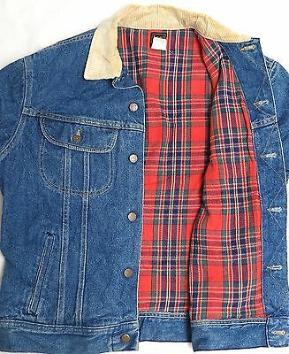 vtg Lee BLUE DENIM Tartan Flannel Lined JACKET MED trucker 80s Corduroy Collar M